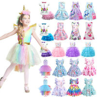 Kids Girls Princess Tutu Dresses Unicorn Cosplay Costumes Summer Wedding Party