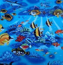 UNDER THE SEA TROPICAL FISH DOLPHINS BLUE LAGOON KIDS fabric by the metre
