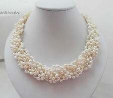 18'' White Rice Baroque Freshwater Pearl Necklace