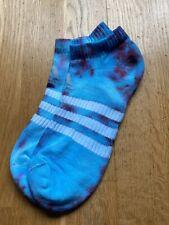 ADIDAS TIE-DYE LOW TRAINER SOCKS 6.5-8 Custom Tiedye Vintage Summer Blue Red