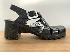 BNWT JuJu x Office Hi Made in UK BLACK Glitter Recyclable JELLY SHOES UK size 3