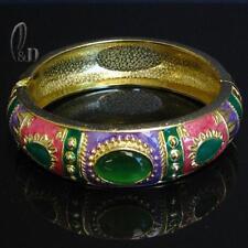 AU SELLER Chic Vintage Enamel Gold Plated Metal Bangle ba089