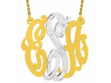 Monogram Diamond Pendant Necklace Personalized 40mm Sterling Silver or Yellow Go