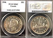 Canada 1946 Dollar, PCGS 62, CHBU, Rare Grade, Low Mintage