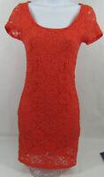 LUSH NORDSTROM Womens Dress Size Small Orange Lace Short Sleeve Keyhole Back