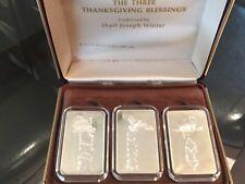 3 1oz Silver Bar Ingot Thanksgiving Blessings Family Freedom Abundance orig case