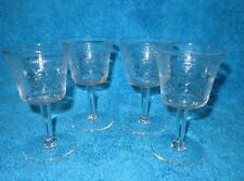 4 X VINTAGE PALL MALL ETCHED & ETCHED PORT / SHERRY GLASSES 10.5 CM TALL
