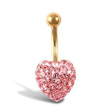9ct Gold Belly Bar 11mm Pink Crystals Heart Shaped Erin Rose Jewellery co