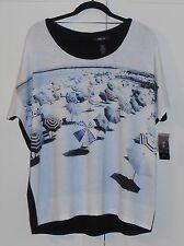 STYLE & COMPANY BLACK & WHITE BEACH SCENE TOP WITH CRYSTALS - XL - BUYER BEWARE