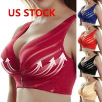 Women Push Up Full Coverage Bra Wireless Deep-V Lace Bras Gather Underwear US