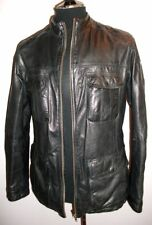 Leather Bomber Jacket Lakeland 42 Black Real SOFT Biker Cafe Racer Blazer Coat