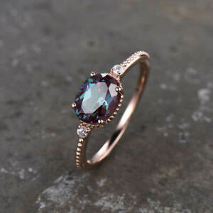 3 Ct Oval Cut Alexandrite Diamond Solitaire Engagement Ring 14K Rose Gold Finish