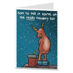 Funny Rude Xmas Card Rudolph Naughty List Christmas Design