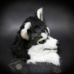 Over the Head Black and White Wolf Costume Moving Mouth Masquerade Mask