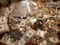 ESTATE LOT FIND, OLD US COINS, GOLD,.999 SILVER BARS, BULLION, RARE U.S. BILLS+