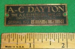 A-C Dayton Brass Nameplate for Radio or Fan 1920's Nice! 2-Inch