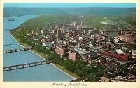 Harrisburg Pennsylvania~Aerial View~Hospital Area~Bridges On River ~1960s