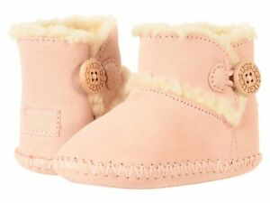 NEW CRIB TODDLER INFANT UGG LEMMY II BOOTIES BABY PINK WOOD BUTTON 1018136I
