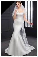 Wedding Bridal Ivory Cathedral Veil 2 Tier Soft Tulle Sequin Lace Edge With Comb