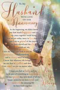 """To My Husband With Love on our Anniversary Card.Large Card 9""""x6"""".Stunning Words."""