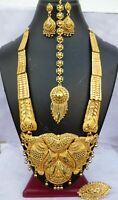 22K Gold Plated Indian 14'' Long Wedding Necklace Earrings tikka Set Ah