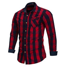 New Men's Slim Fit Casual Shirt Long Sleeve Dress Shirts Plaid Cotton Shirt Tops