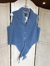 NWT Express Vintage Shirt Vest - Thin Wale Blue Corduroy Top - Size L