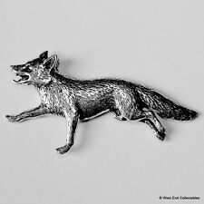 Running Fox Pewter Brooch Pin -British Artisan Signed- Hunting Fox Gift Present
