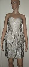 SIZE 12 SILVER AND BLACK LACE BANDEAU PEPLUM DRESS, CHI-CHI COLLECTION, BNWT