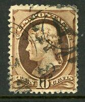 USA 1882 Continental 10¢ Jefferson Brown Fancy Scott 209 VFU I547 ⭐⭐⭐⭐⭐⭐
