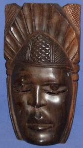 Vintage Hand Carved Wood Tribal Wall Decor Mask