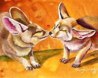 Desert Kiss FENNEC FOX 8X10 Print from Artist Sherry Shipley