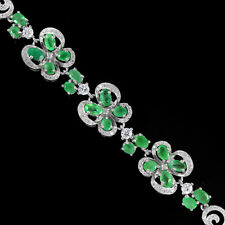 Sterling Silver 925 Genuine Natural Emerald & Lab Created Diamonds Bracelet 8 in