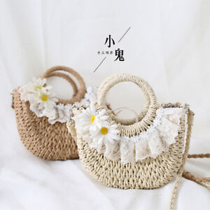 Flower lace Handmade straw bag Sandy beach Rattan bag Shoulder Bag Messenger bag