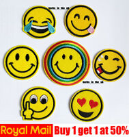 Smile Smiley Icon Emoticon Emoji Iron On/ Sew On Embroidered Patch Badge 7 style