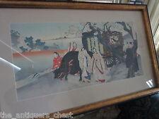 CHIKANOBU 1838-1912 Original Japanese Woodblock Print Triptych