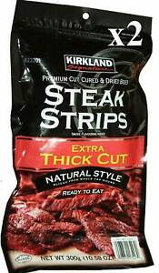 300g  Steak Jerky Thick Beef Strips High Protein Dried Beef X2