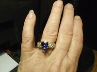 Tanzanite Pear Shape and Diamond Ring With Defects in 14k YG Size 7 over 3 CTW