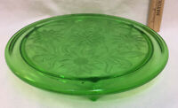 """Cake Plate Tray Green Glass Etched Sunflower Flower Footed Platter 10"""" Vintage"""