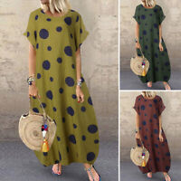 ZANZEA 10-24 Women Summer Short Sleeve Sundress Gown Polka Dot Long Maxi Dress