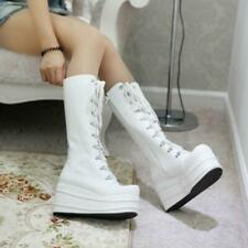 Fall Winter Lace Up Wedge Platform Bootie Midi-Calf Boots Punk Goth Women Shoes