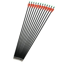 "12pcs 30"" Archery 7.8mm Carbon Arrows Head Replaceable In Red and White Feather"