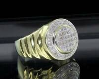 Mens Luxury Gold Plated Iced Out Princess Cut Cubic Zirconia Bling Pinky Ring