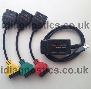 NEW Diagnostics Italian Cars Fiat Alfa ELM OBD2 cables adapters MULTIECUSCAN