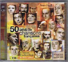 2 CD NEUF 50 ANS DE CHANSONS FRANCAISES GAINSBOURG BRASSENS VIAN LEGRAND LECLERC