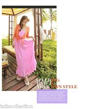 Strapless Beach Party Ruffle Maxi Long Outdoor Sun Dress in Hot Pink - 5022