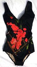EDEL: Badeanzug Gr.40 B  FÜRSTENBERG Blumen schwarz rot grün braun