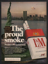 1976 WORLD TRADE CENTER TWIN TOWERS & STATUE OF LIBERTY L&M Cigarette VINTAGE AD