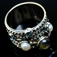 Large Rainbow Moonstone 925 Sterling Silver Ring Size 8.25 Jewelry R18888F