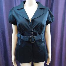 Wrapper Jacket Belt Vneck Button Puff Short Sleeve Career Black NWT NEW $42 XL